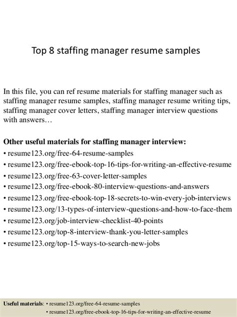 Temp Agency On Resume by Top 8 Staffing Manager Resume Sles