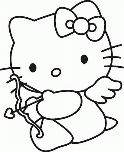 Coloring Kitty Hello Pages Characters Cartoon Popular