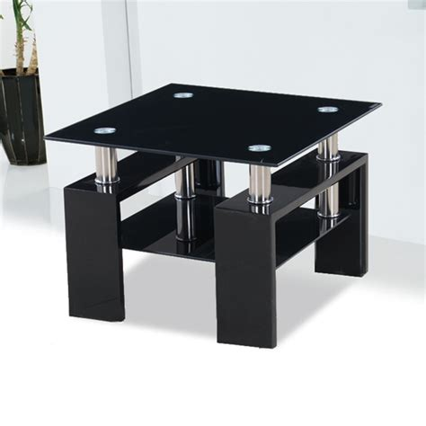 black glass end table kontrast black glass side table with high gloss legs 18205