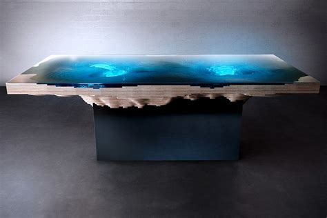abyss dining table  mesmerized   bathymetric map