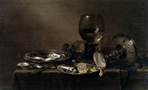 Vanité Pieter Claesz by Still With Oysters A Silver Tazza And Glassware By
