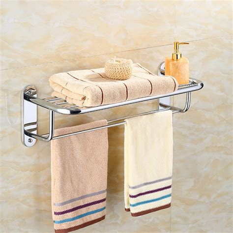 chrome stylish bathroom wall mounted towel rail holder