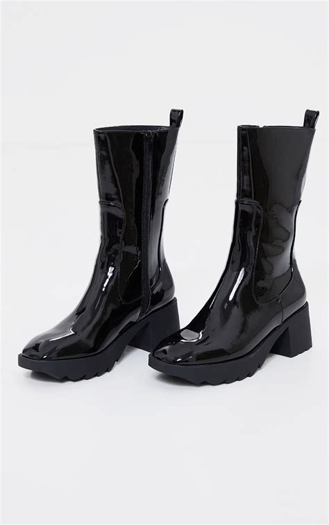 Black Patent Pu Chunky Sole Chelsea Ankle Boots ...