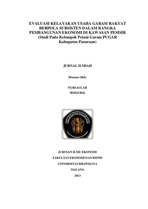 Journal - EVALUASI KELAYAKAN USAHA GARAM RAKYAT BERPOLA