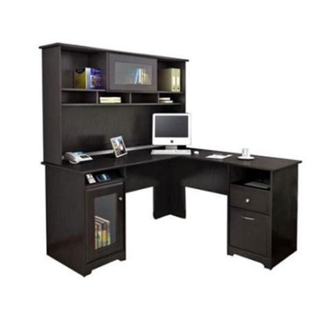 l shaped computer desk walmart bush cabot l shaped computer desk with hutch in espresso