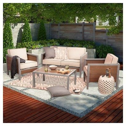 faux wood patio furniture threshold bryant faux wood sling patio furniture