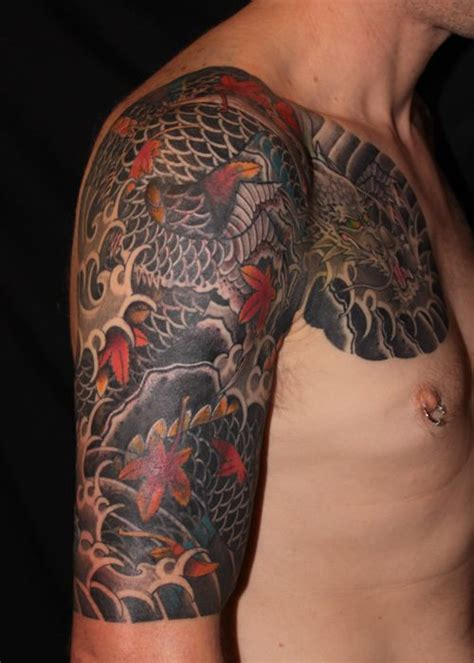 dragon tattoo sleeve  maple leaves cover  freehand design  favorit japanese
