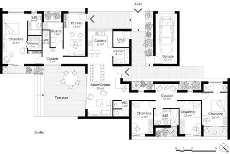 plan de maison de plain pied avec 3 chambres plan maison de plain pied avec suite parentale ooreka