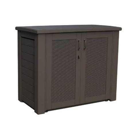 rubbermaid storage cabinets home depot rubbermaid 123 gal bridgeport resin patio cabinet 1863391
