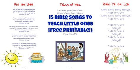 15 bible songs for ones printables free 729 | 15 Bible Songs to Teach Little Ones Printable