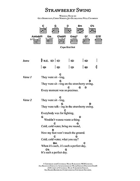 Swing Words by Strawberry Swing Sheet By Coldplay Lyrics Chords