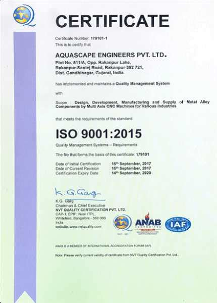 Aquascape Engineers by Ce Certificate