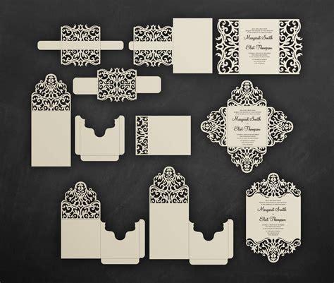 Laser cut wedding invitation Set Cricut Templates Gate