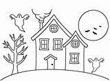 Haunted Coloring Drawing Halloween Maison Dessin Haus Ausmalbilder Cartoon Ghost Draw Facile Colorier Houses Une Template Simple Colorir Desenhos Decalquer sketch template