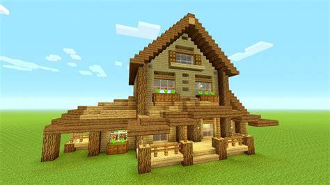 minecraft building tutorial   build big wooden house big rustic house tutorial huge