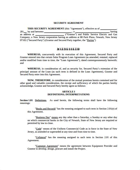 Security Contracts Templates by 9 Commercial Security Agreement Templates Sle Templates