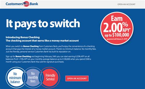 Customers Bank 2% APY Checking Account on up to $100,000 ...