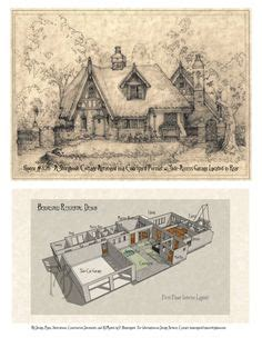 pencil drawing  house   storybook cottage style