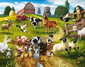 Walltastic Fototapete Kinderzimmer Wandbild Tiere Bauernhof Fun on the Farm www 4 haen de