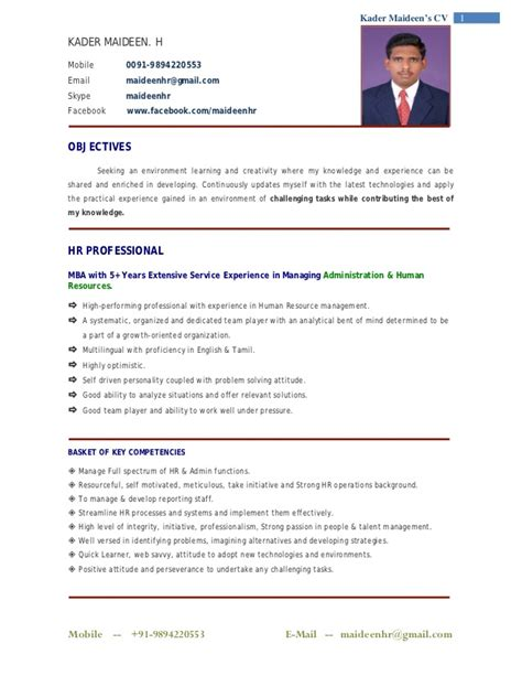 Hr Manager Resumes India by Indian Professional Resume Format Resume Format