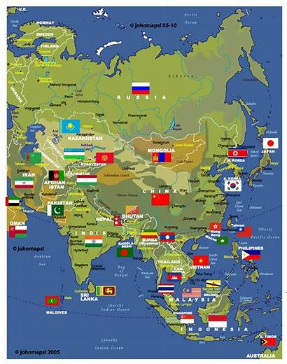 Asia Map Countries Maps Flags Whole Country