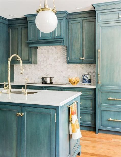 blue kitchen hutch get inspired by this gorgeous brass and blue kitchen