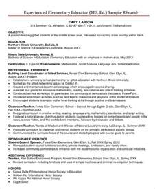 elementary resume with no experience resume sle 28 free word pdf documents