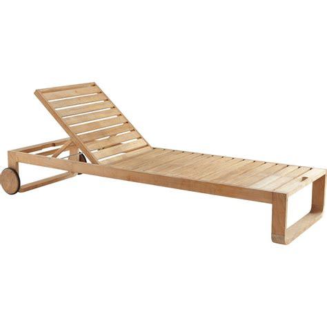 chaise longue teck bain de soleil de jardin en bois resort naturel leroy merlin
