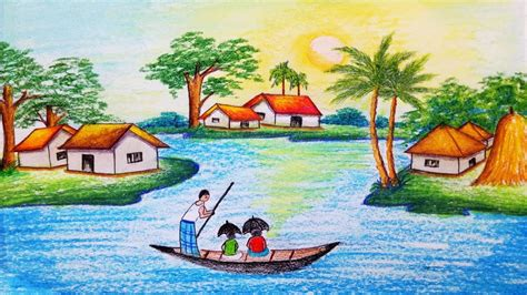Village Boat Drawing by How To Draw Riverside Village Scenery Step By Step Easy