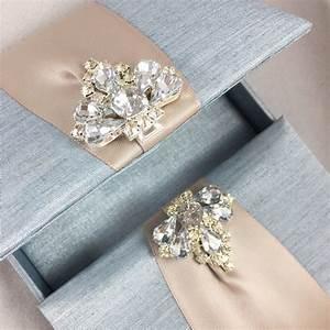 Mystic Blue Custom Invitation Box With Luxury Diamond