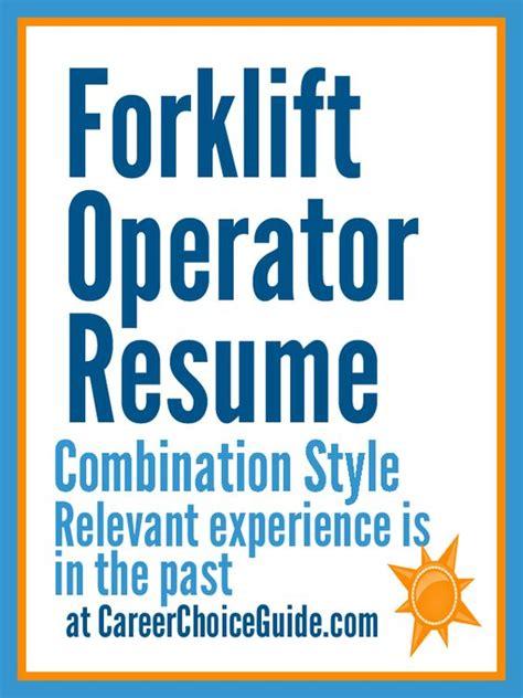 certified forklift operator resume exle forklift operator resume sle resumes and cover letters resume
