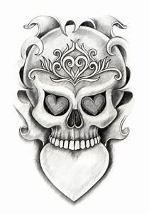 Skull Heart Art Tattoo. Stock Illustration - Image: 55355106