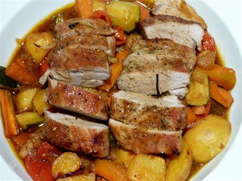 cuisine porc filet mignon de porc et ses petits légumes un petit
