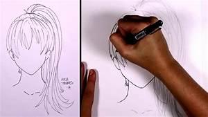 How to draw manga hair - Ponytail (girl) | MLT - YouTube