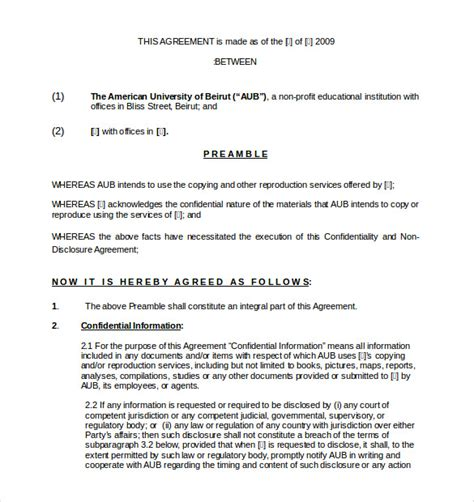 confidentiality agreement templates  word