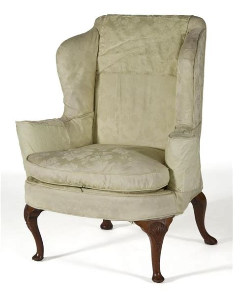 style wing chair with lime green upholstery shel