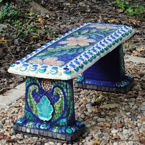 mosaic garden bench       plain grey