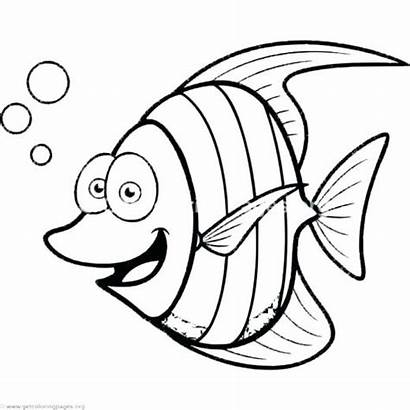 Fish Coloring Pages Tropical Cartoon Printable Drawing