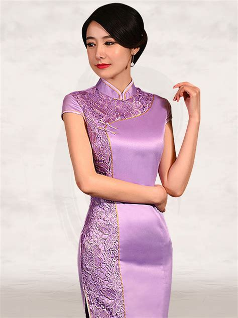 lavender satin floral lace cap sleeve short traditional
