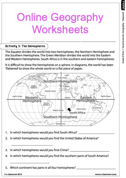 grade 6 geography worksheets map work for more