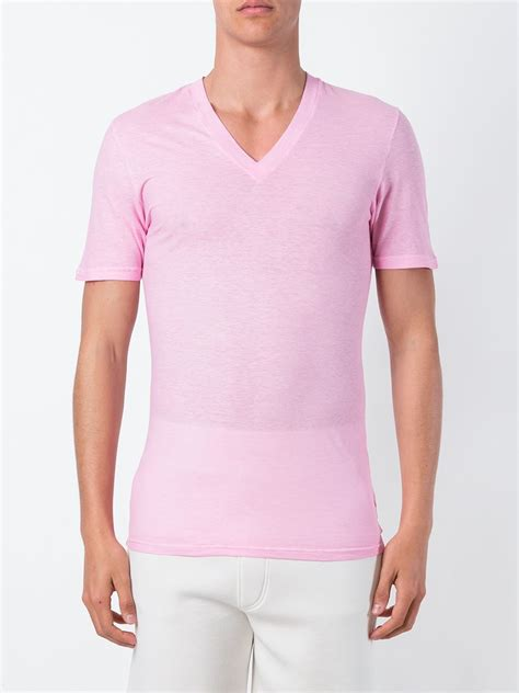 lyst dsquared  neck  shirt  pink  men