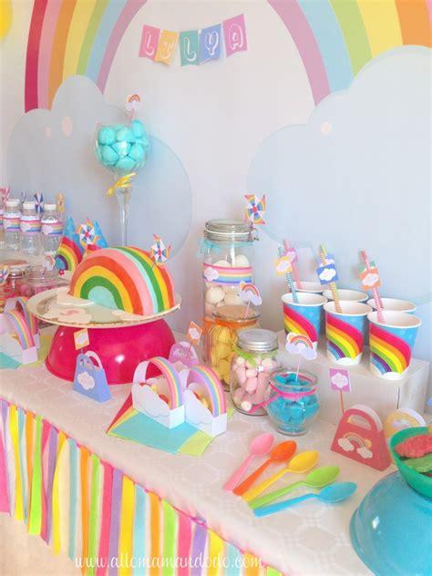 décoration anniversaire thème licorne la sweet table d 233 co d anniversaire quot arc en ciel quot les photos pony unicorn rainbow