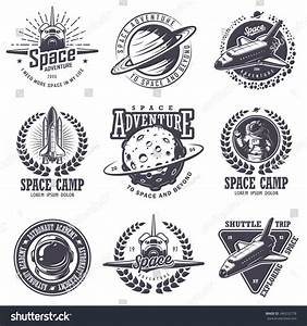 Set Of Vintage Space And Astronaut Badges, Emblems, Logos ...