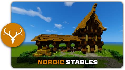 minecraft building tutorial   build nordic stables youtube