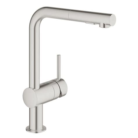 grohe minta kitchen faucet grohe minta single handle pull out sprayer kitchen faucet in super steel 30300dc0 the home depot
