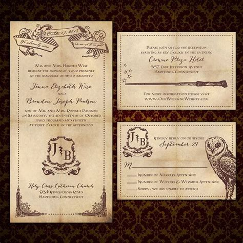 harry potter wedding invitations    inspiration