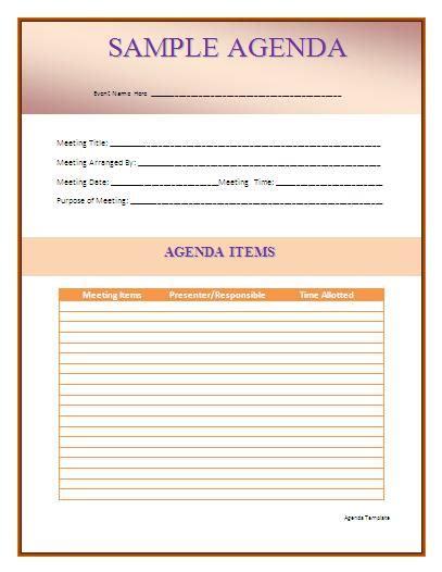 brilliant samples  agenda template word thogati