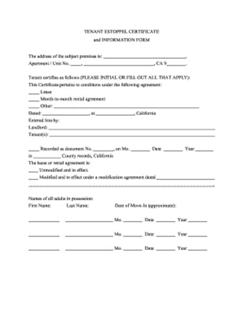 Boarder Agreement Template 28 Images Lease Agreement Tenant Estoppel Letter