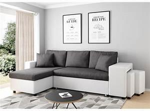 Canapé Avec Pouf : canap d 39 angle convertible en lit avec poufs oslo gris blanc ~ Teatrodelosmanantiales.com Idées de Décoration