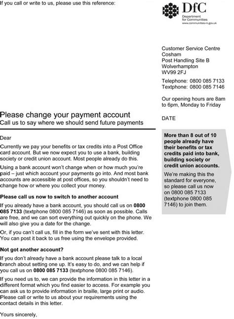 Department confirms validity of payment account letter to
